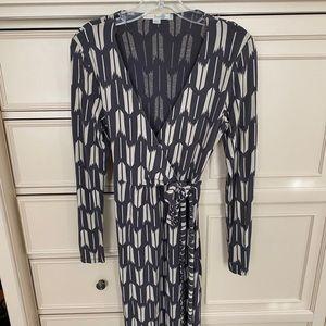 Boden Gray Faux Wrap Long Sleeve Dress